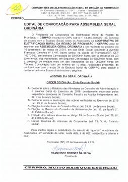 EDITAL DE CONVOCAÇÃO PARA ASSEMBLEIA GERAL ORDINÁRIA
